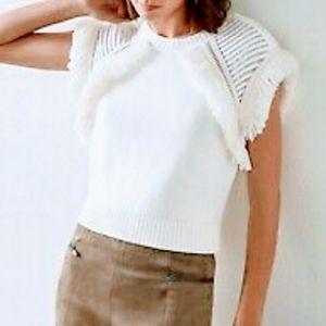 BCBG MAX AZRIA Short Sleeve Fringe Sweater